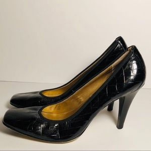 Tahari Enya Heels Black Leather Croc Dress Shoes